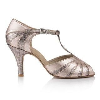 Muriel Peach Vintage Wedding Shoes By Freed Of London are a vintage inspired open toe t-bar sandal that has been carefully crafted from the finest materials with sparkle heel and sparkle cut out detail.