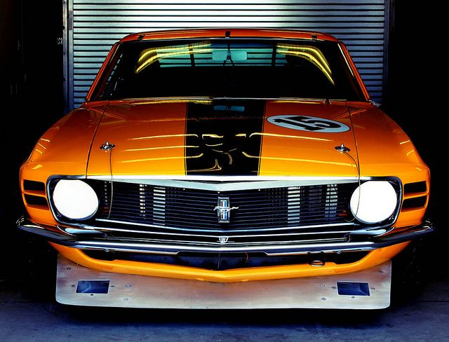 1970 Ford Mustang Boss 302 in the Paddock at the 2011 Rolex Monterey Motorsports Reunion.