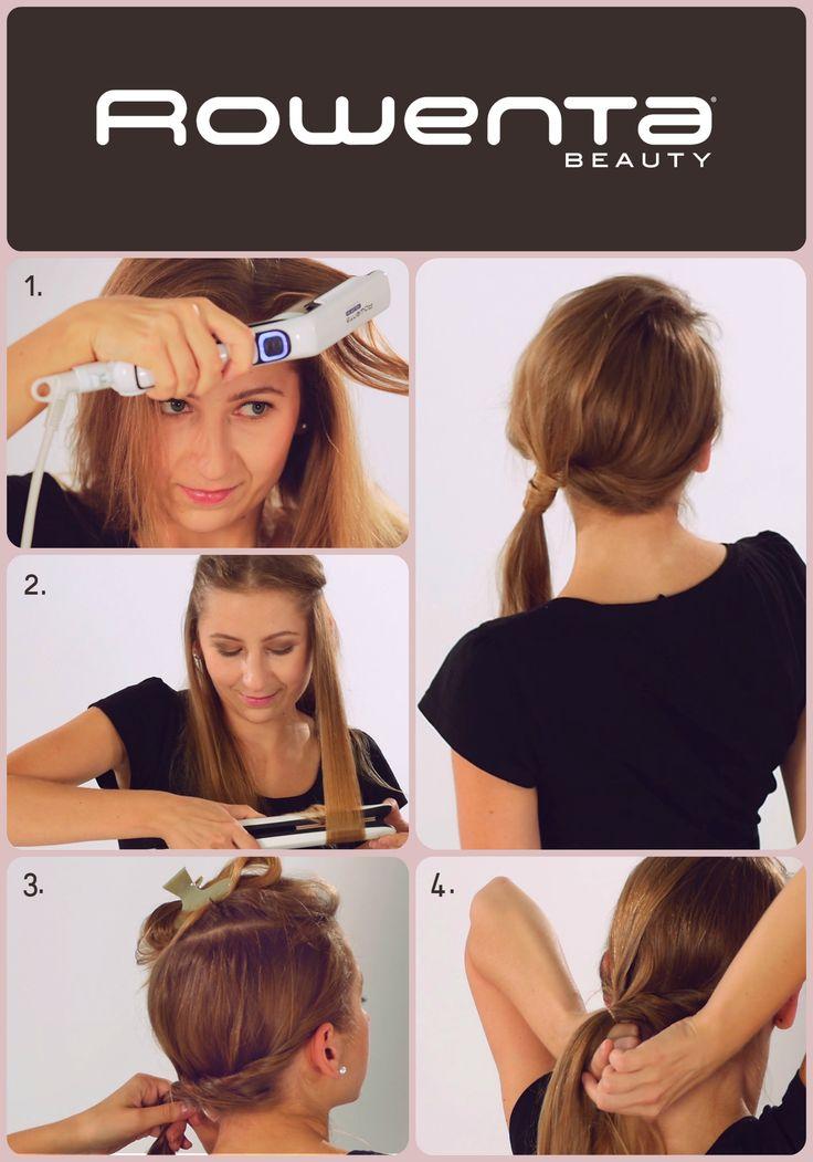 Zakręcony kucyk  Krok 1. Unieś włosy od nasady przy pomocy VOLUM'24 Krok 2. Zrób luźne fale używając prostownicy RESPECTISSIM 7/7 Krok 3. Podziel włosy na dwie części, górną podepnij, z dolnej zrób ślimaka, zaczynając od prawego ucha i kończąc z lewej strony nad karkiem - podepnij go Krok 4. Górną część zaczesz na lewo, końcówki owiń dookoła podpięcia ślimaka #Respectissim #Rowenta #RowentaPolska #fryzura #włosy #hair #hairstyle #hotd #wlosomaniaczka #volum  #straight #easy #tutorial…