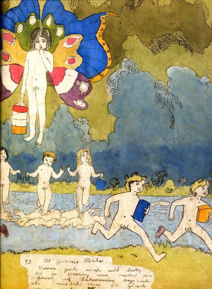Henry Darger's Vivian Girls. The epic 15,000-page Realms is featured in RV 39 http://rawvision.com/articles/further-adventures-dargers-vivian-girls  and in RV 74 http://rawvision.com/articles/heroes-and-villains-henry-darger