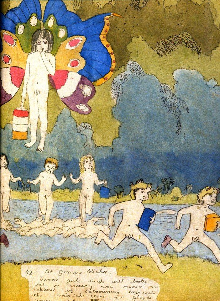 Henry Darger's Vivian Girls. (Kinder laufen weg, retten sich vor etwas. Es türmen sich dunkle Wolken auf.)  http://rawvision.com/articles/further-adventures-dargers-vivian-girls http://rawvision.com/articles/heroes-and-villains-henry-darger