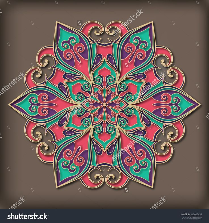 Volume floral Mandala ethnic tribal ornament for decoration. Oriental style.