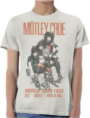 Motley Crue Vintage Concert T-shirt - Motley Crue World Tour 1983 | Men's Gray Shirt