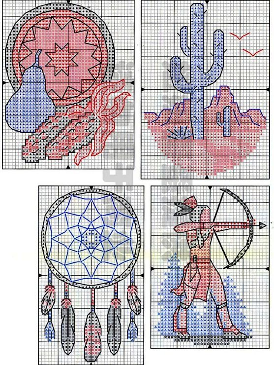 free cross stitch pattern - Native Spirit dream catcher and saguaro
