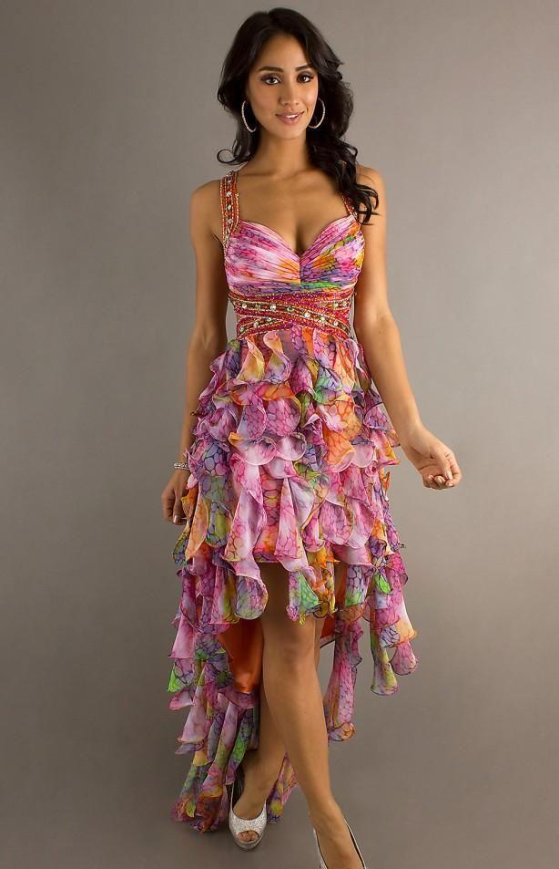 Vestidos de fiesta largo, asimétrico, con estampado floral.