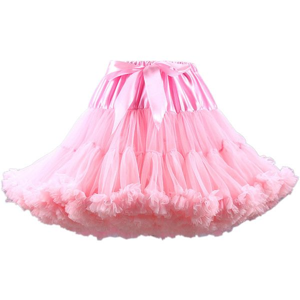 Light Pink Bowknot Waist Ruffle Trim Tulle Bustled Skirt ($34) ❤ liked on Polyvore featuring skirts, stretchy skirt, stretch skirts, ruffle skirt, pink skirt and pink frilly skirt
