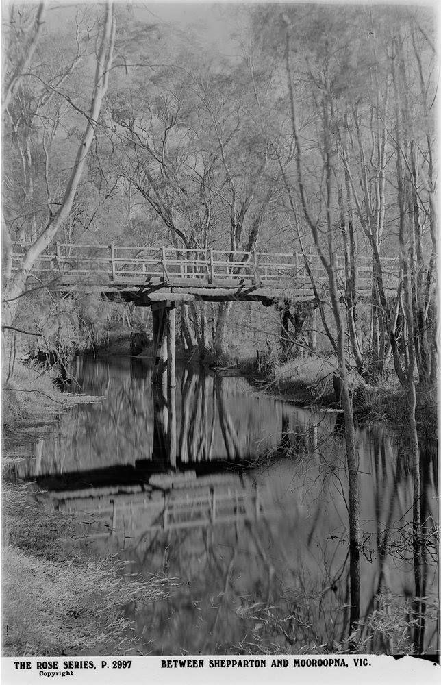 Old wooden bridge between Mooroopna & Shepparton, circa 1920 -1954, earlier than latter. One of the Rose Series P.2997