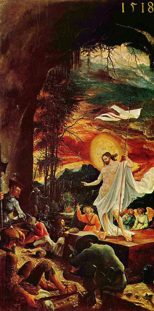 Albrecht Altdorfer. The Resurrection of Christ, 1509/18, Vienna, Kunsthistorisches Museum. Buy this painting as premium quality canvas art print from Modarty Art Gallery. #art, #canvas, #design, #painting, #print, #poster, #decoration
