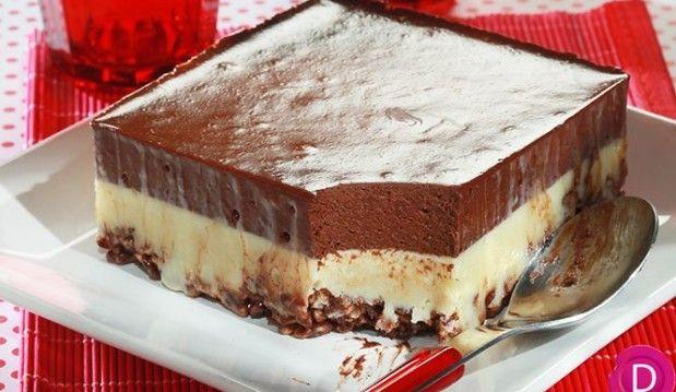 Γλύκισμα ψυγείου με δημητριακά και διπλή κρέμα σοκολάτας από την Ντίνα Νικολάου !