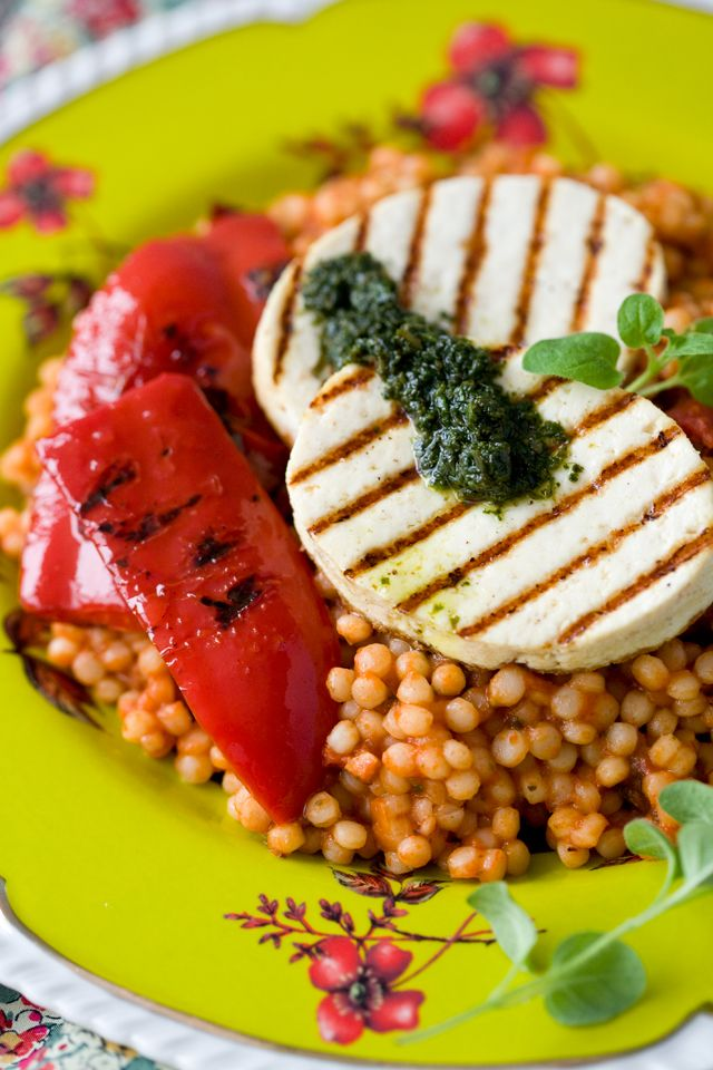 Pearl couscous with grilled tofu, pesto, and roasted red pepper