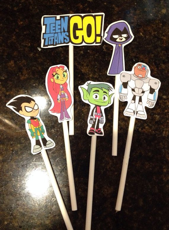 Teen Titans Go INSPIRED Cupcake Toppers by MadeForYouByMonica