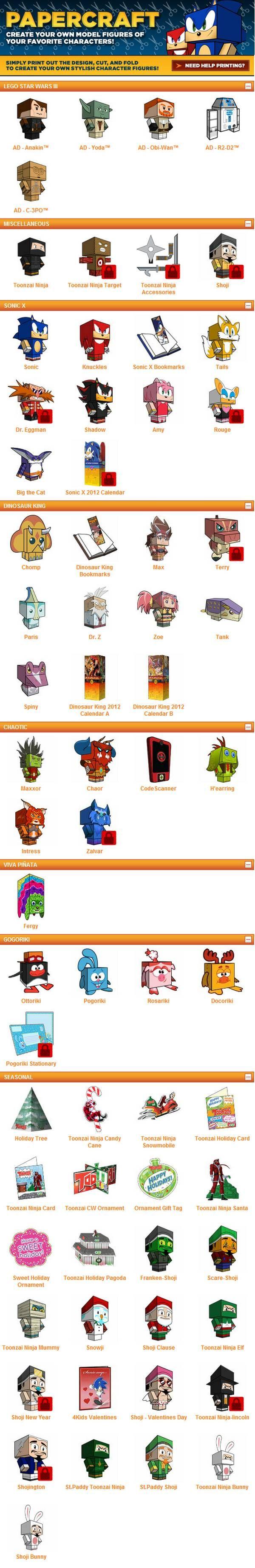 En 4Kids TV ofrecen docenas de modelos gratuitos del tipo cubeecraft que solo deben de imprimir, recortar y armar, sin necesidad de utilizar pegamento o cinta adhesiva. Ofrecen 5 personajes de Star Wars: Anakin, Master Yoda, Obi-Wan, R2-D2 y C-3PO. También ofrecen otros modelos como por ejemplo figuras de Sonic. Si bien no tienen instrucciones, son muy fáciles dearmarya que cada una de las partes tiene marcas (letras) para acoplarlas entre si. A continuación tienen una imagen con todos…