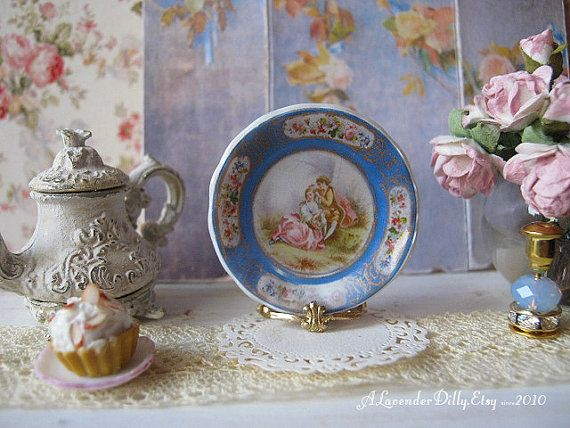 Blue Sevres Accueil Dollhouse Plate by alavenderdilly on Etsy, $4.25