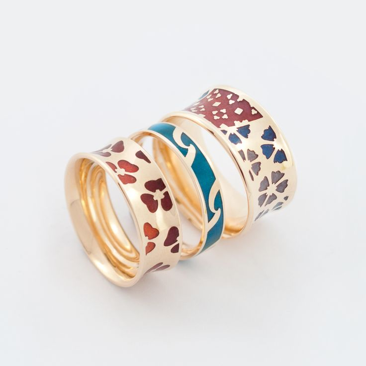 Gold and Enamel rings, by Geoff Mitchell.