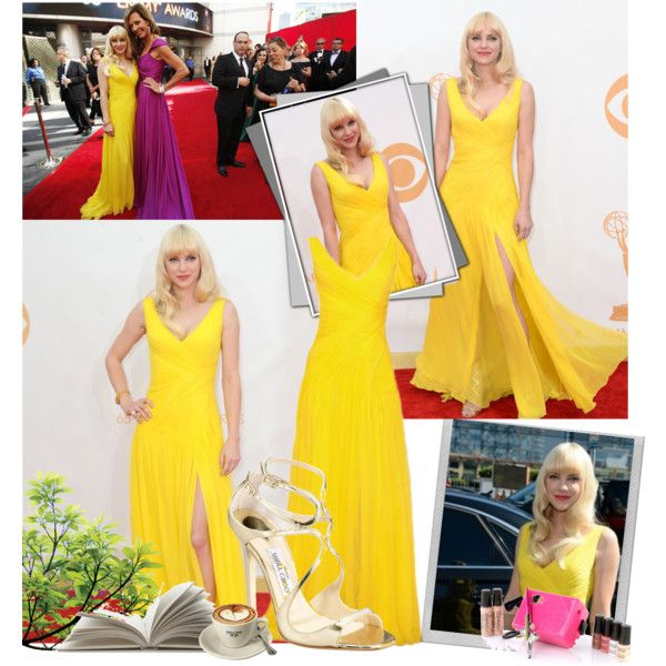 2013 Emmy Awards~ Anna Faris by snugget9530 on Polyvore featuring Jimmy Choo, FARIS, Monique Lhuillier, Luminess Air and Polaroid