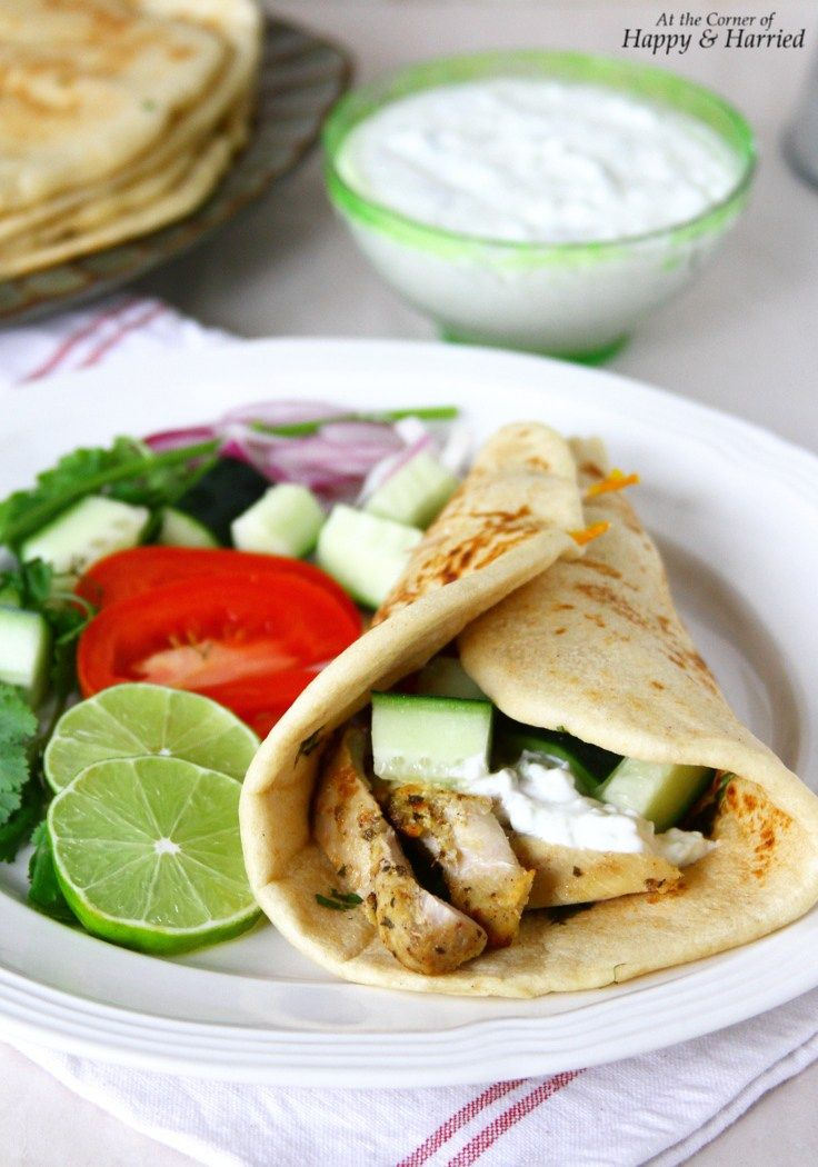 All Homemade Greek Chicken Gyro Wraps