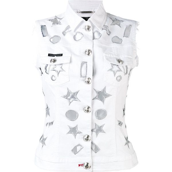 Philipp Plein Star Detail Gilet (1.630 BRL) ❤ liked on Polyvore featuring outerwear, vests, white denim vest, philipp plein, white waistcoat, white vest and gilet vest