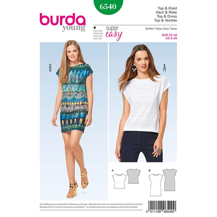 Misses Top and Dress Burda Sewing Pattern 6540. Size 6-20.