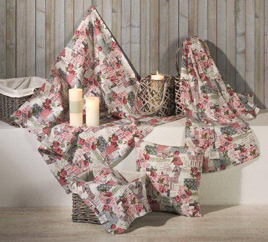 shabby chic tischl ufer in natur rosa 40x140 cm 100. Black Bedroom Furniture Sets. Home Design Ideas