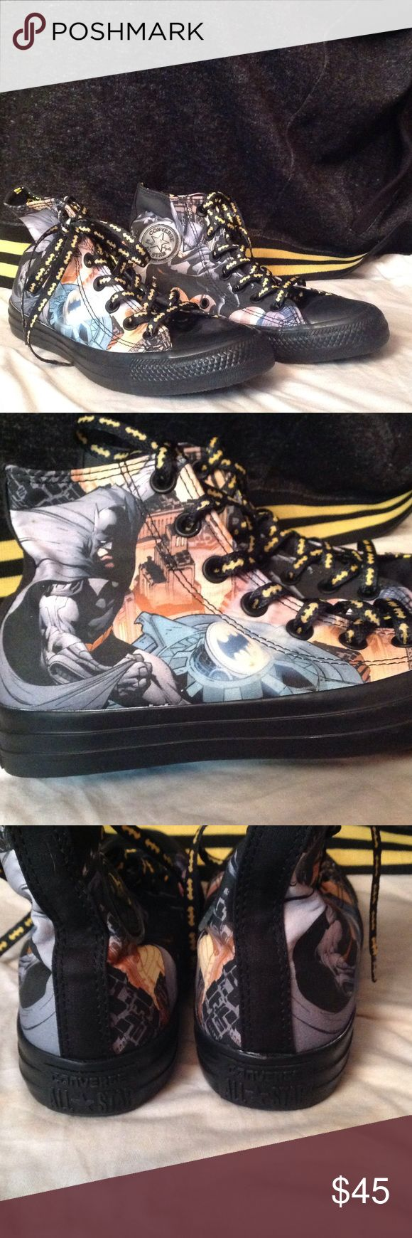 Brand New Batman Converse W/Box Brand new batman converse with box and extra laces. Size 6 women's and 4 men's. I wore these for 20 minutes before I realized them being half a size too small hurt too bad, so barely worn 😂. Converse Shoes Sneakers