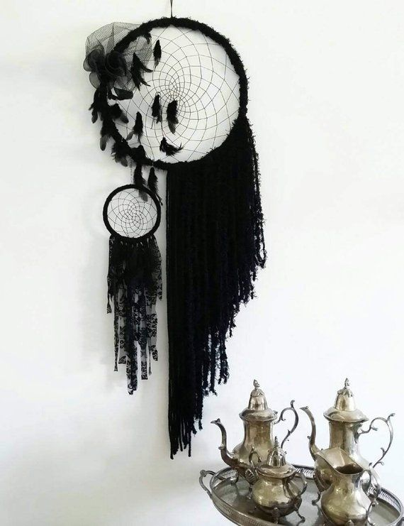 Black boho dream catcher, boho bedroom decor Bohemian decor Large Gothic dream catcher
