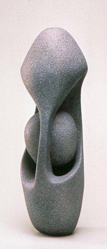 """Abstract Sculpture by Lena Arice Lucas SHELTERED view 1 - coil built / constructed clay / ceramic, acrylic, 25"""" tall x 9"""" wide (at widest)"""