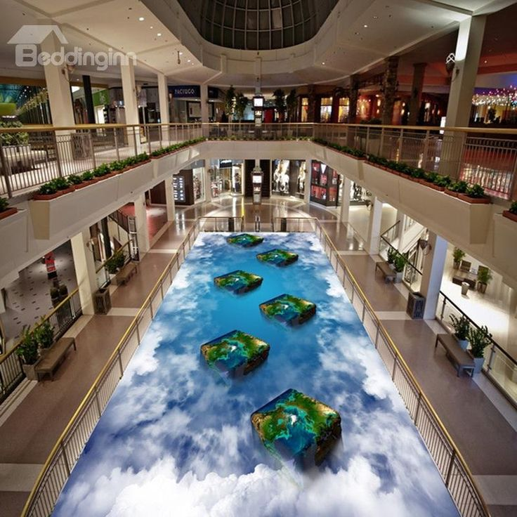 Special Fancy Three-dimensional Cube in the Cloud Pattern Decorative 3D Floor Murals