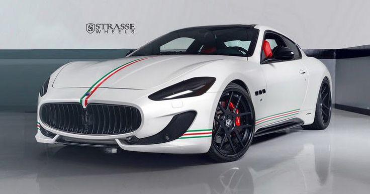 Patriotic Maserati GranTurismo S Poses On Satin Black Wheels #Maserati #Maserati_GranTurismo