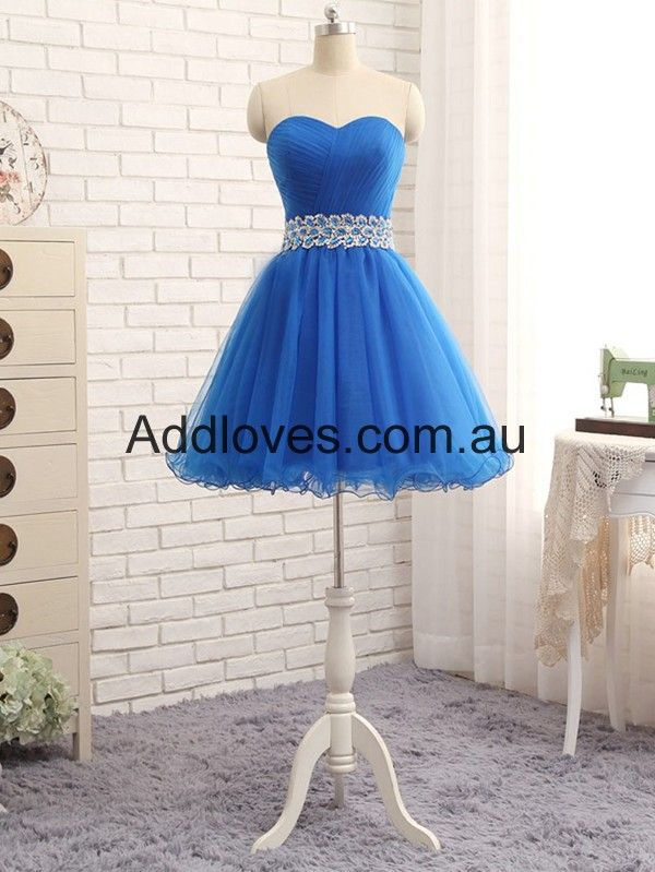 Royal Blue Sweetheart Short Chiffon Cocktail Dresses