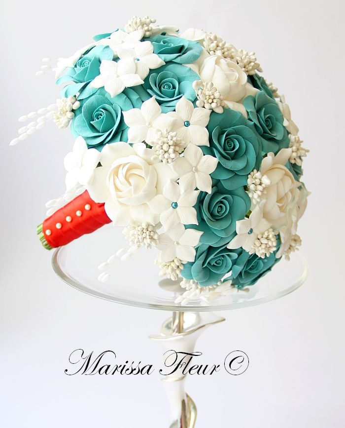 A Touch Of Beauty...: Turquoise Bridal Bouquet With Roses, Gardenias And Stephanotis - Marissa Fleur