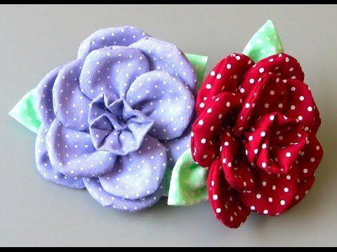 Origami Fuxico em forma de estrela Passo a Passo- HOW TO MAKE ROLLED RIBBON ROSES- fabric flowers - YouTube