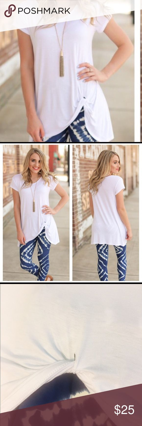 """White knot tunic This comfy, classic, loose fitting white tunic is so soft you may want to sleep in it! Fabric: 95%rayon/5%spandex (Medium size tunic for sale in separate listing. Tie die leggings are also sold in a separate listing!)  Chest: 18"""" Length: 30"""" Infinity Raine Tops Tunics"""