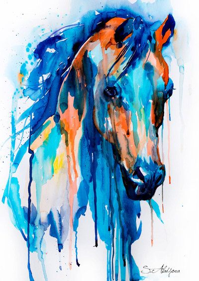 Horse watercolor painting print Horse art animal art by SlaviART
