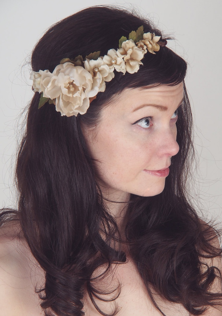 Honey & Cream Floral Wedding Crown - Romantic Hair Wreath - Wedding Crown - Flowers and Pearl Accents - The Winifred via Etsy.