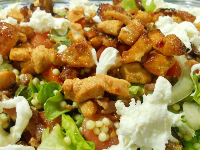 Salada de frango e pimentos