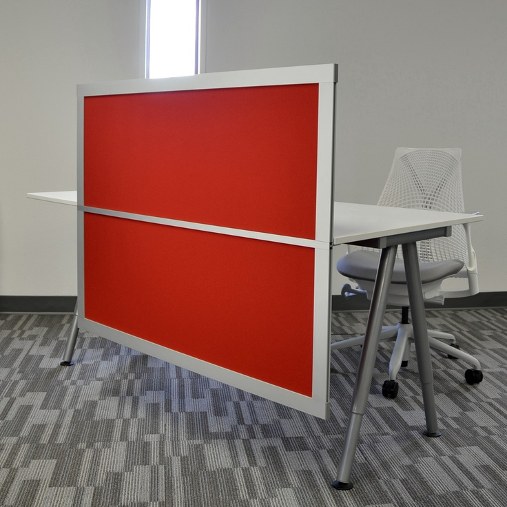 4 Desk Privacy Modesty Screen With Solid Red Panels Divider Pinterest