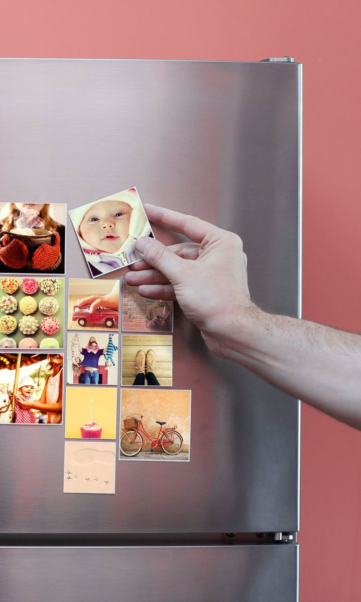 cover your refrigerator in instagram magnets from sticky9