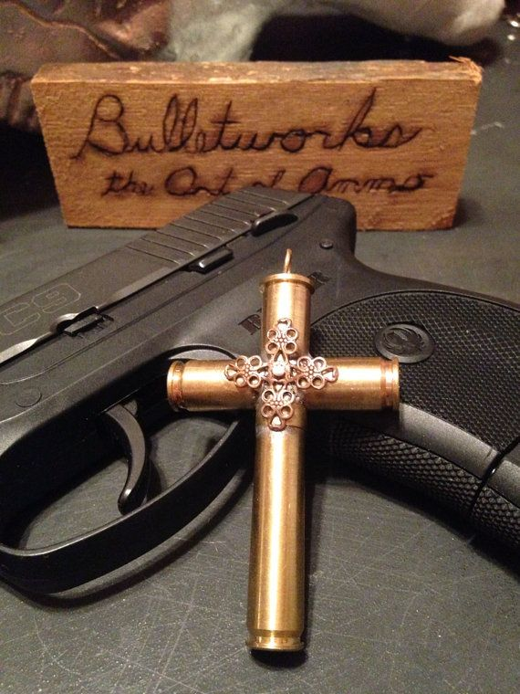 Bullet jewelry Cross pendant by Bulletworks on Etsy, $30.00