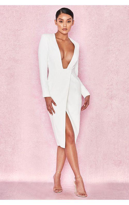 Clothing Structured Dresses Akali White Crepe Wrap Over Plunge Dress In 2020 Plunge Dress Structured Dress Dresses