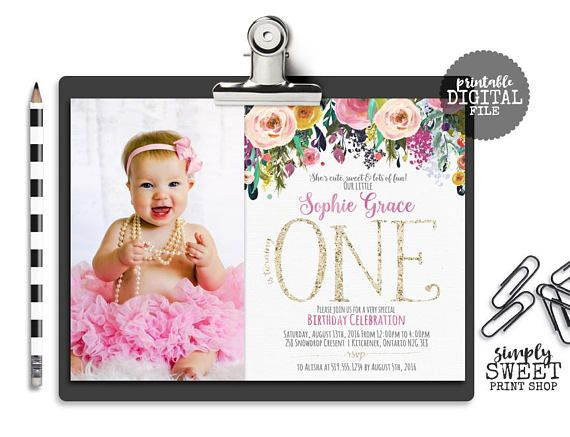 First 1st One Girl Birthday Party Invite Invitation Photo Picture Floral Pink Gold Glitter Roses Flowers Watercolor Cute Sweet Fun Sunshine