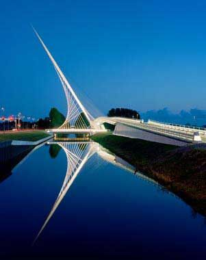 Santiago Calatrava  Three Bridges over the Hoofdvaart  Haarlemmermeer, the Netherlands