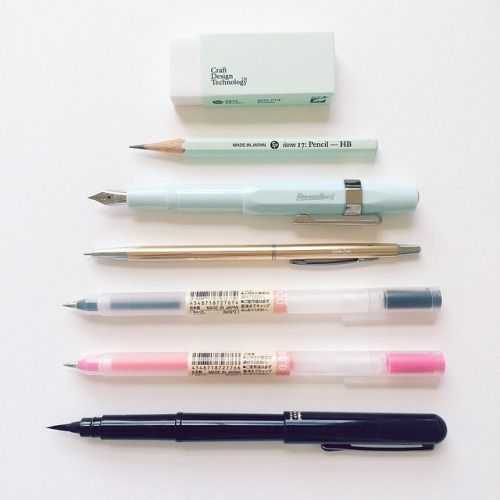 Hello, my name is Viktorija and I am stationery addict.   Here are my favourite writing tools I use on daily basis (from top to bottom): craft design technology item 014: eraser craft design technology item 017: Pencil HB (apparently they stopped manufacturing it , I am stocking up). Kaweco sport fine pen  OHTO SlimLine gold pen Muji 0.38 black pen Muji 0.38 pink pen Pentel brushpen