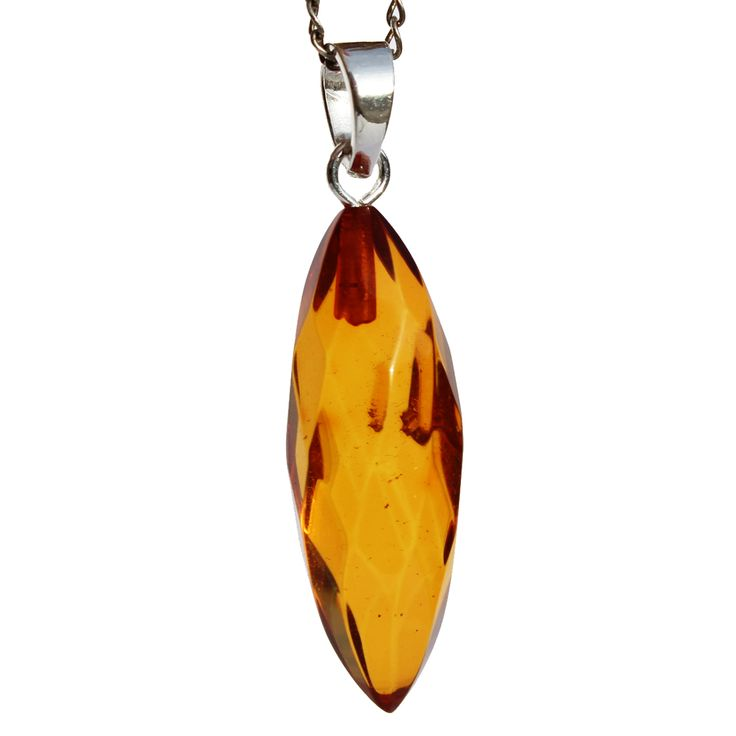 Faceted Amber Pendant Drop