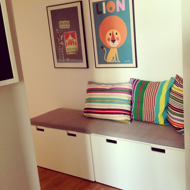 hallway bench made by ikea stuva with afroart pillows