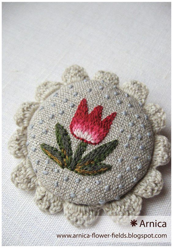 Arnica flower fields cute folk art shabby vintage chic little gift button badges with embroidery and crochet inspiration to make