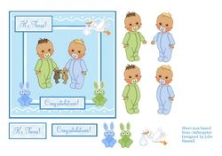 New Baby twin boys congratulations card on Craftsuprint - View Now!