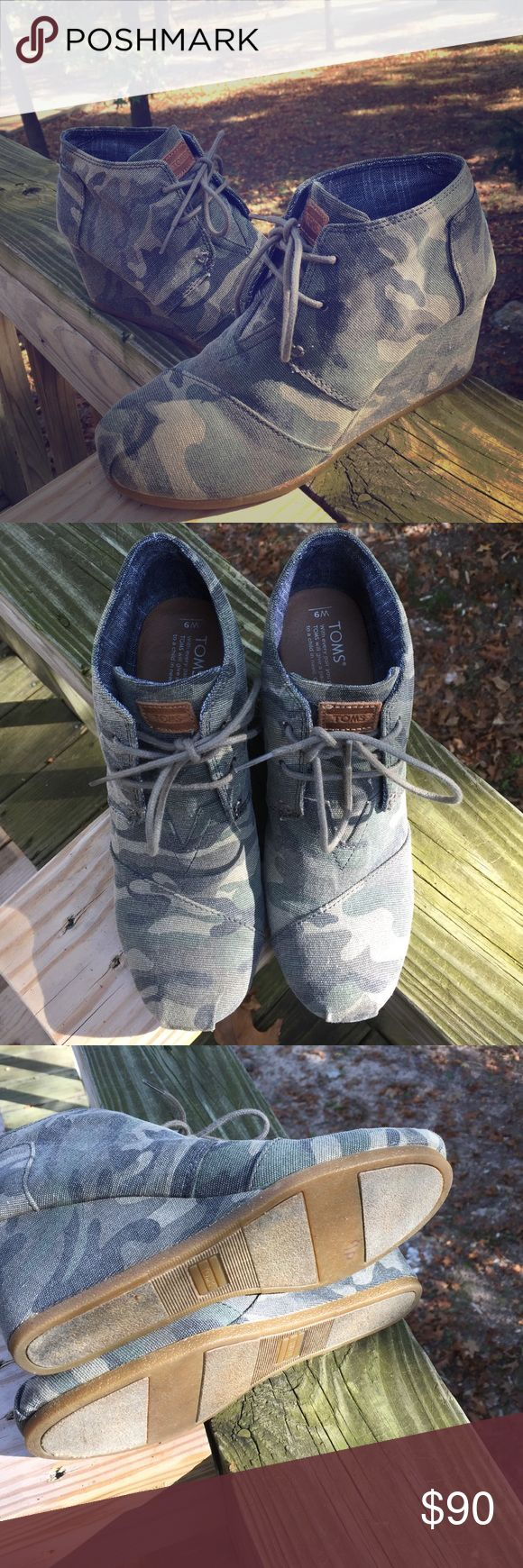 Camo TOMS Wedge Booties size 9 Practically brand new, worn one time. I just needed a different size. These are sold out most places! Excellent condition. No signs of wear! Please ask any questions :) TOMS Shoes Ankle Boots & Booties