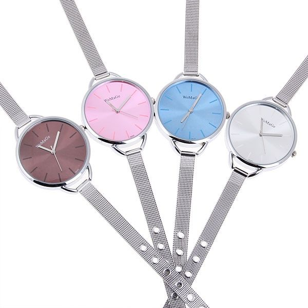 WoMaGe Quartz Watch with Strips Indicate Round Dial Steel Watchband for Women (White) (WHITE) China Wholesale - Sammydress.com