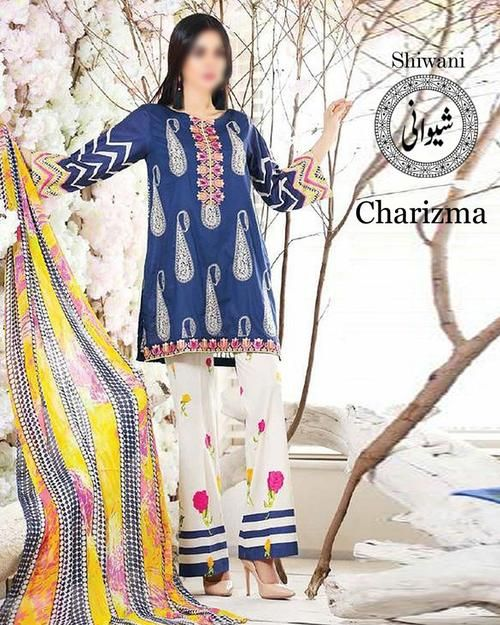 6fd7918ff6 Charizma Lawn Collection With Chiffon Embroidered Dupatta (Replica )(Unstitched)