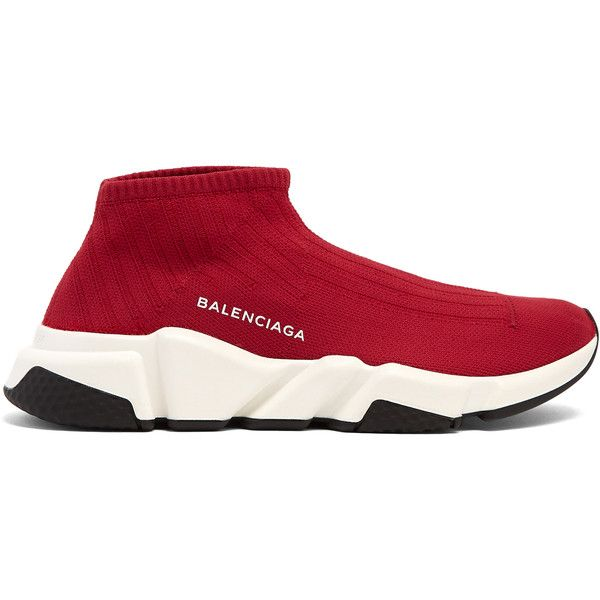 Balenciaga Speed trainer ($595) ❤ liked on Polyvore featuring shoes, sneakers, red, balenciaga sneakers, balenciaga, balenciaga shoes, grip shoes and grip trainer